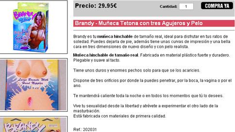 Brandy – Muñeca Tetona con tres Agujeros y Pelo