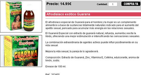 Afrodisiaco exótico Guaraná