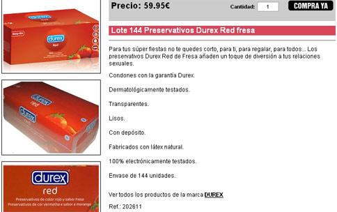 Lote 144 Preservativos Durex Red fresa