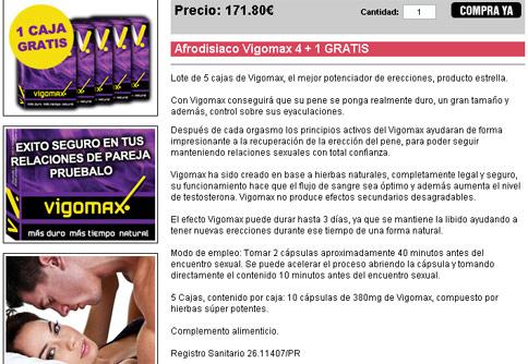 Afrodisiaco Vigomax 4 + 1 GRATIS