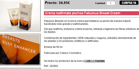 Crema reafirmate pechos Fabulous Breast Cream