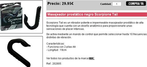 Masajeador prostático negro Scorpions Tail