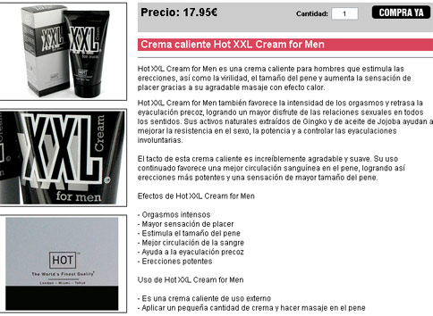 Crema caliente Hot XXL Cream for Men