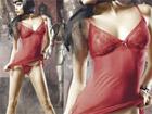 Conjunto sexy de camisón rojo y tanga