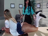 La profesora castiga con mucha fuerza a esta joven alumna